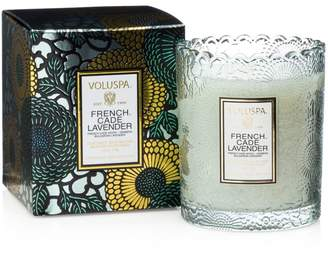 Voluspa Japonica French Cade & Lavender Embossed Glass Scalloped Edge Candle
