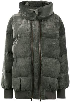 Stella McCartney Grey velvet puffer jacket