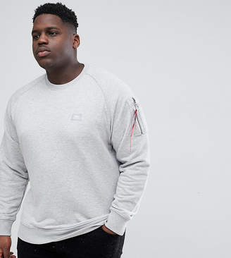 Alpha Industries PLUS X-Fit Tab Sleeve Crewneck Sweatshirt in Gray Marl