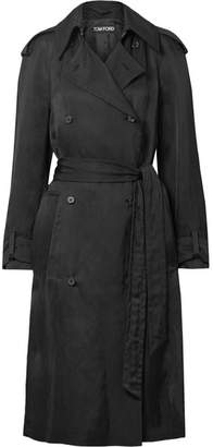 Tom Ford Double-breasted Twill Trench Coat - Black