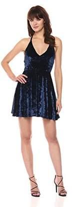 Velvet Rope Women's Ice Velvet V-Neck Spaghetti Strap T-Back Mini Dress
