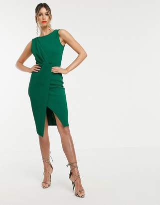 Closet London pleated front pencil dress in green