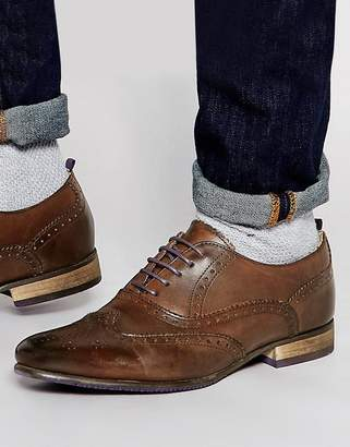 Asos Design Brogue Shoes in Brown Leather With Coloured Tread