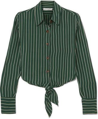 Faithfull The Brand Beau Rivage Striped Crepe Shirt - Emerald