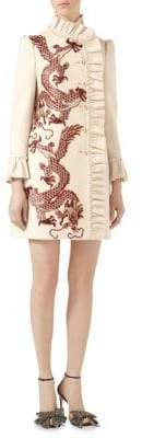 Gucci Dragon-Embroidered Ruffled Wool Coat