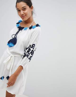 Free Shipping Pick A Best Cheap Exclusive White Beach Tunic Dress With Heavy Embroidery - White America & Beyond Sale Cheapest FCHB6O3N