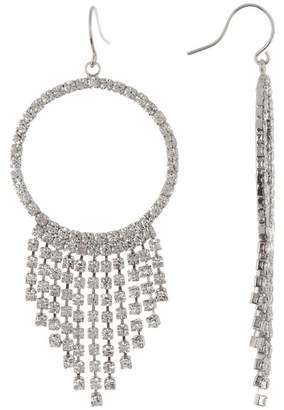 CRISTABELLE Fringe Hoop Tassel Crystal Earrings