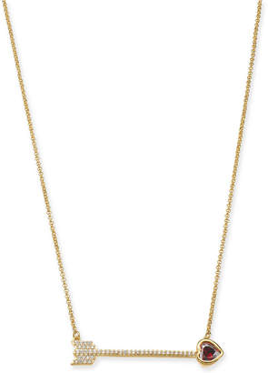 "Kate Spade Gold-Tone Crystal Heart Arrow Pendant Necklace, 18"" + 3"" extender"