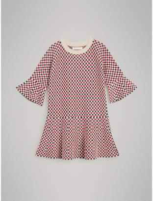 Burberry Childrens Chequered Cashmere Lurex Blend Dress