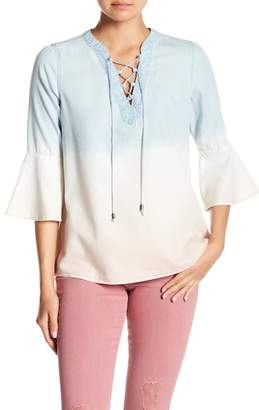 Nine West Ombre Bell Sleeve Peasant Blouse