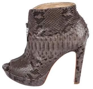 Alexandre Birman Snakeskin Platform Ankle Boots
