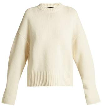 Proenza Schouler Wool Blend Round Neck Curved Hem Sweater - Womens - Ivory