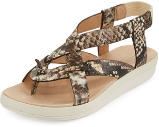 Tommy Bahama Iolana Snake-Embossed Strappy Sandal, Neutral $89 thestylecure.com