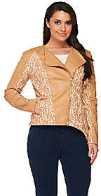 G.I.L.I. got it love it G.I.L.I. Faux Leather Motorcycle Jacket withBonded Lace
