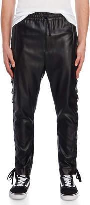 Faith Connexion Black Lace-Up Faux Leather Pants