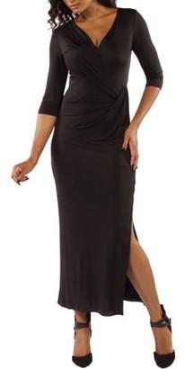24/7 Comfort Apparel Women's Long V-neck Wrap Dress