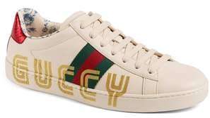 Gucci New Ace Guccy Logo Sneaker with Genuine Snakeskin Trim