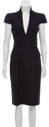 Alexander McQueen Cap Sleeve Midi Dress Black Cap Sleeve Midi Dress