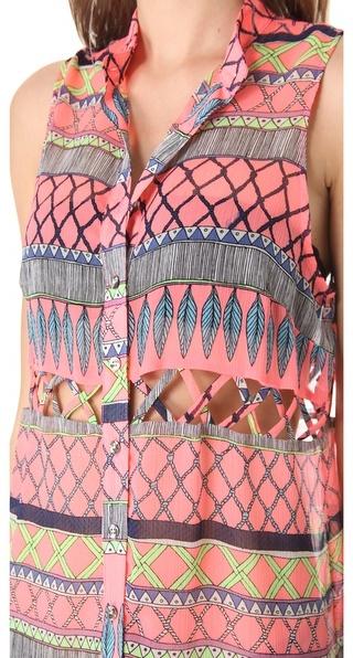 Mara Hoffman Frida Lattice Tunic Cover Up