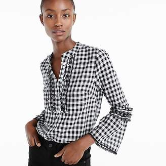 J.Crew Embroidered bell-sleeve top in gingham