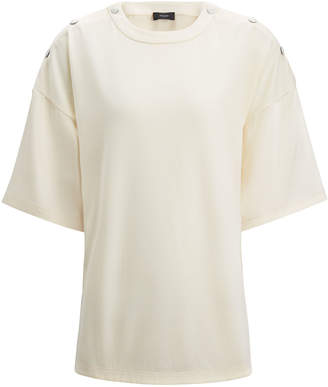 Joseph Silk Satin and Jersey Crew Neck Tee