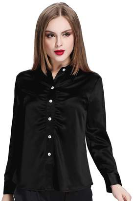 Mulberry LILYSILK Silk Shirt For Office Lady Long Sleeves Botton Front 100% Silk ,XL