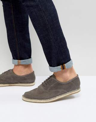 Frank Wright Lace Up Espadrilles In Gray Suede