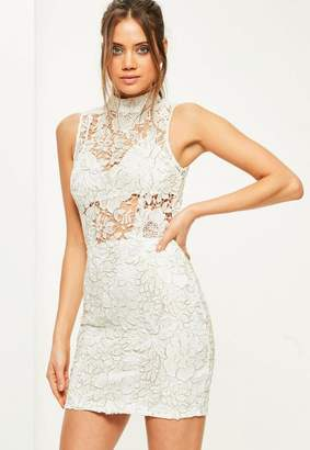 Missguided White High Neck Sleeveless Corded Lace Shift Dress