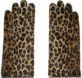 Raf Simons Black and Brown Leather Leopard Gloves