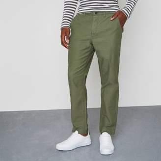 River Island Mens Khaki green tapered fit chino pants