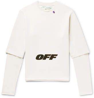 Off-White Wing Off Oversized Layered Printed Jersey Sweatshirt