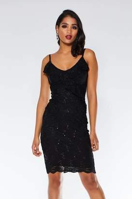 e623d2ea071 Quiz Black Sequin Lace Frill Midi Dress