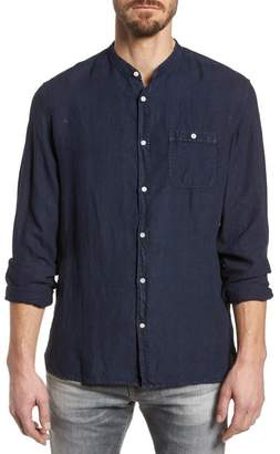 Woolrich & Bros. Regular Fit Band Collar Linen Shirt