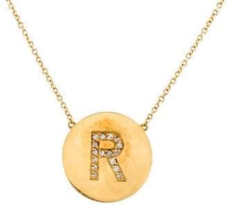 Jennifer Meyer Diamond 'R' Initial Pendant Necklace