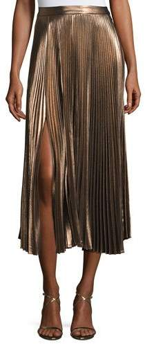 A.L.C. A.L.C. Bobby Pleated Lamé Midi Skirt, Rose Gold