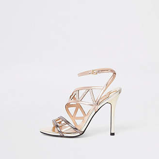 River Island Rose gold tone strappy sandals