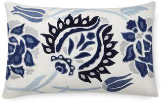 Williams-Sonoma Izlara Floral Applique Lumbar Pillow Cover, Blue