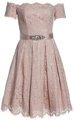 Eliza J Embellished Lace Fit & Flare Dress (Regular & Petite)
