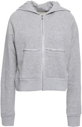 Simon Miller Frayed Melange French Cotton-terry Hooded Jacket