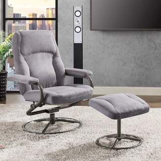 Mainstays Recliner and Ottoman Set, Gray Microfiber Fabric Upholstery
