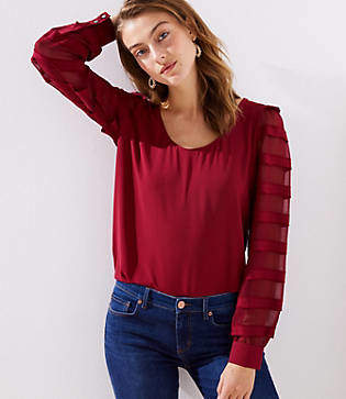 LOFT Petite Striped Sheer Sleeve Scoop Neck Blouse