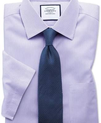 Charles Tyrwhitt Classic fit non-iron bengal stripe short sleeve lilac shirt