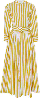 Oscar de la Renta Striped Tea Length Dress
