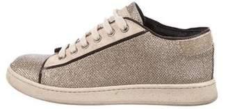 Brunello Cucinelli Monili-Trimmed Glitter Sneakers
