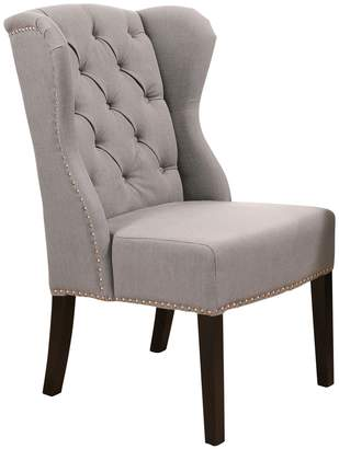 Abbyson Living Grey Sierra Tufted Linen Wingback Dining Chair
