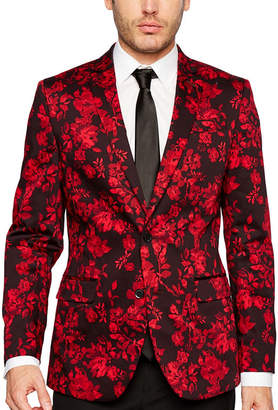 Jf J.Ferrar Holiday Red Floral Slim Fit Sport Coat