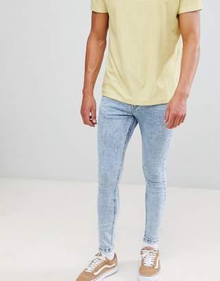 Bershka Super Skinny Jeans In Blue Acid Wash