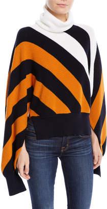 Monse Turtleneck Diagonal-Stripe Sweater with Slit Sleeves