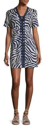 MICHAEL Michael Kors Quincy Lace-Up Zebra-Print Minidress, Khaki $195 thestylecure.com