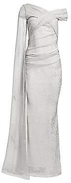Talbot Runhof Women's Metallic Sequin Voile Gown
